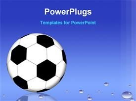 PowerPoint template displaying animated depiction of a football on a blue background
