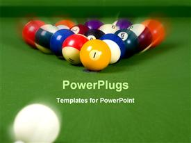 PowerPoint template displaying white cue ball rolling toward billiard balls on green pool table