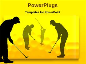 PowerPoint template displaying golf players in the background.