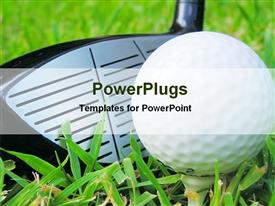 PowerPoint template displaying golf stick with ball in the background.