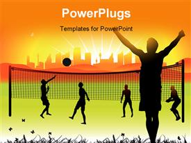 PowerPoint template displaying youth playing volleyball in ground on nature summer