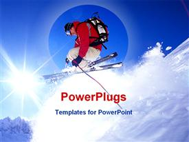 PowerPoint template displaying skier jumping on snowy hill in the background.