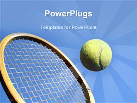PowerPoint template displaying close up shot of a wooden tennis racket hitting a tennis ball