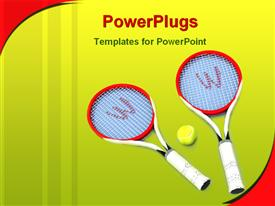 Two tennis rackets and a tennis ball on light blue background powerpoint theme