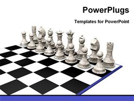 White pieces on the chess powerpoint template