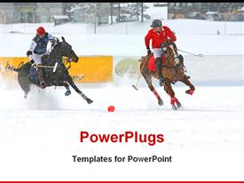 Winter polo match is going on powerpoint theme