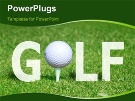 Golf ball on tee in the word GOLF: powerpoint template