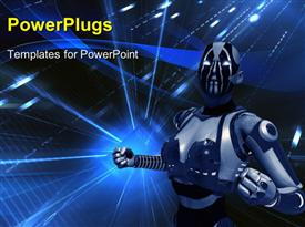 PowerPoint template displaying quality 3D cyborg in futuristic setting