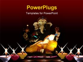 PowerPoint template displaying statue of ganesha, the god of education, knowledge and wisdom in the Hindu mythology in the background.