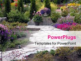 Path leading through a garden powerpoint theme