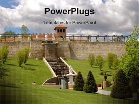 PowerPoint template displaying rooftop garden with a fountain