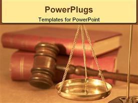 PowerPoint template displaying legal concept under yellow light in the background.