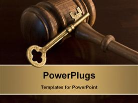 PowerPoint template displaying key and wooden judges gavel symbolic of judicial decision-making and critical judgments