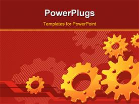 PowerPoint template displaying lots of gold colored gears on a red background