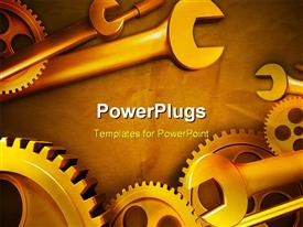 PowerPoint template displaying gears and wrenches over yellow background
