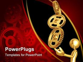 PowerPoint template displaying a 3D humn character holding up three gold gears