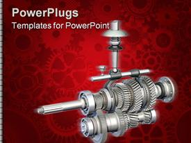 PowerPoint template displaying red background with several shaded gears, a big manual gearbox at the front