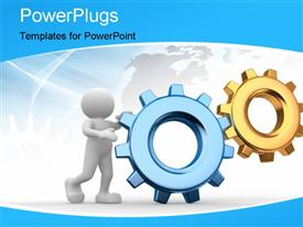 PowerPoint template displaying human character with COG gear wheels and map in background