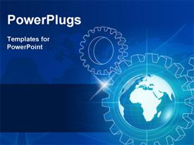 PowerPoint template displaying blue world globe in gear-wheels and map over lights rays