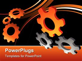 PowerPoint template displaying abstract 3D cogwheel design element in the background.