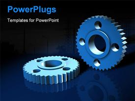 PowerPoint template displaying a number of gears with bluish background and place for text