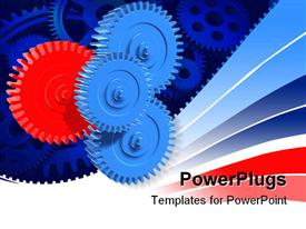PowerPoint template displaying several blue gears with one distinct red gear