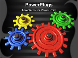 PowerPoint template displaying a number of colorful gears with black background