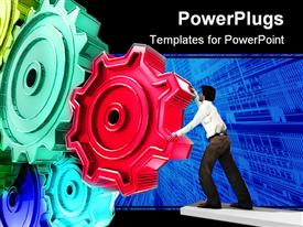 PowerPoint template displaying businessman Turning a Gear on a abstract background
