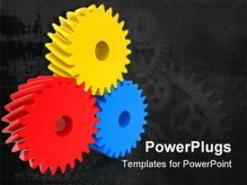 PowerPoint template displaying three multi colored gears on a black colored background