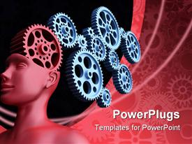 PowerPoint template displaying concept of leadership and control. The main gear is the brain of man