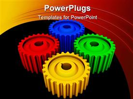 PowerPoint template displaying four multi colored gears on a black and red background