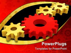 PowerPoint template displaying four connected gears with three golden gears and one red gear between them