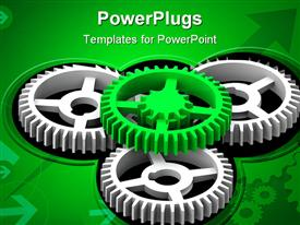 PowerPoint template displaying four black and green gears with arrows and green background