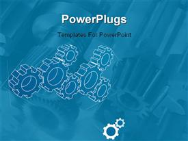 PowerPoint template displaying gears blueprint depiction. Technology, teamwork, solution...concepts in the background.