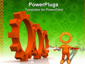 PowerPoint template displaying gears which symbolize movement mechanisms and business