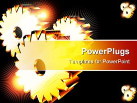 PowerPoint template displaying three golden gears with spark of light glowing on black background