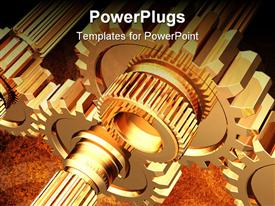 PowerPoint template displaying lots of animated gold colored gears working simultaneously together