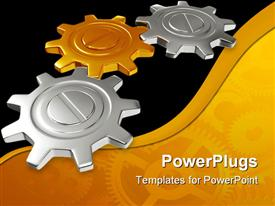 PowerPoint template displaying a number of gears with golden and black background