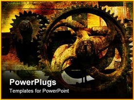 PowerPoint template displaying rusty gears with vintage cracked background, industrial, manufacturing