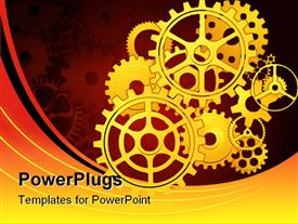 PowerPoint template displaying yellow mechanical gears placed for moving the mechanism on red and yellow background