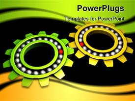 PowerPoint template displaying two colorful gears with dark background