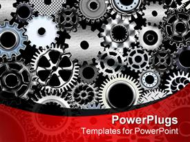 PowerPoint template displaying a number of gears with place for text