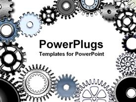 PowerPoint template displaying lots of metallic gears on a white colored background
