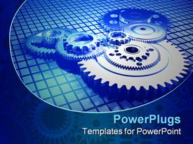 PowerPoint template displaying mechanism of multiple big and small meshing gears in blue background