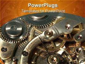 PowerPoint template displaying old clock machine in the background.