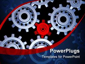 PowerPoint template displaying lots of silver colored gears with a small red gear in the middle