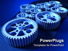 PowerPoint template displaying how a machine works a concept with set of gears