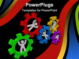 PowerPoint template displaying white figures inside multicolored meshed gears turning together