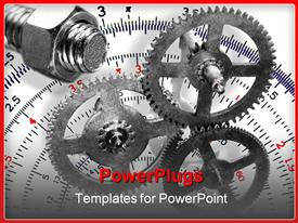PowerPoint template displaying gears with nut and bolt with a protractor in the background, design and engineering