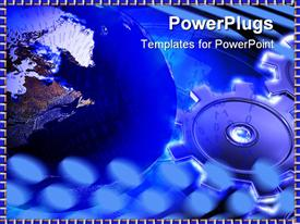 PowerPoint template displaying gears and globe in blue color